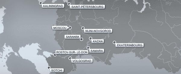 Carte des villes de la coupe du monde 2018
