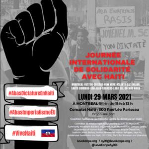 Montréal 29 mars 2021 : Journée de solidarité avec le peuple Haïtien révolté contre la dictature et l'impérialisme