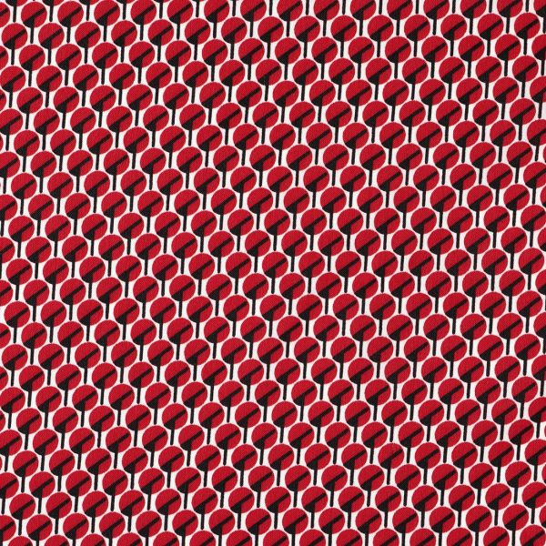 tissu satin polyester motif japonais rouge