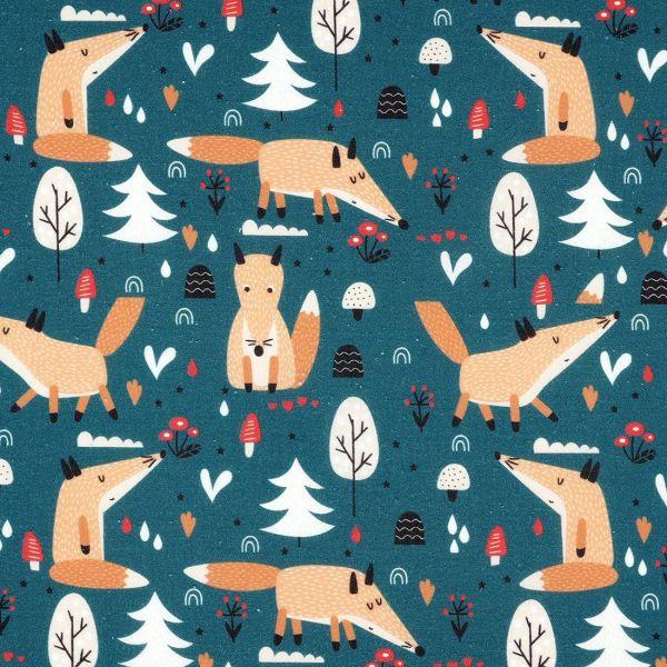 tissu coton renards bleu