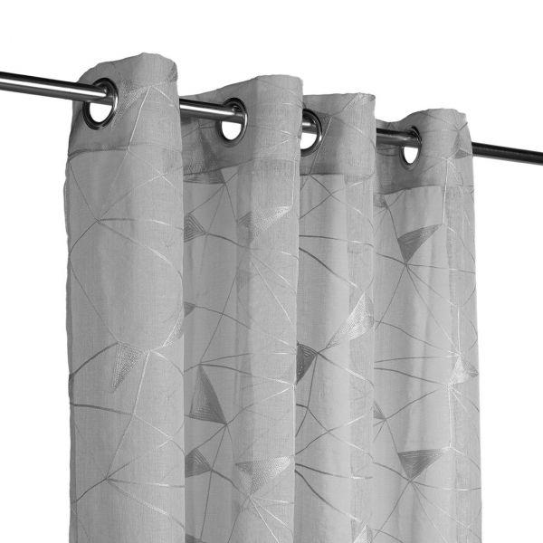rideau voilage gris brode geometrique
