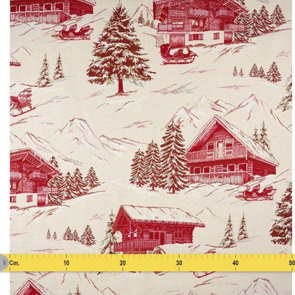 tissu jacquard albergue montagne rouge