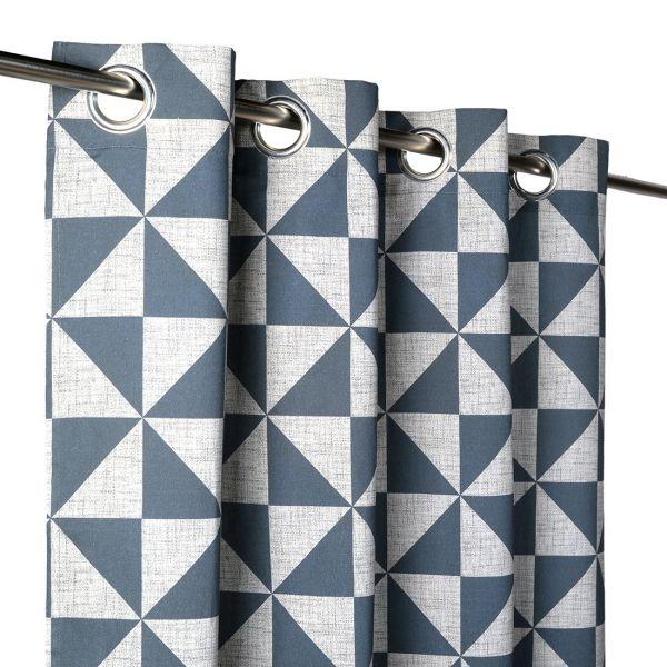 rideau triangles bleu gris azulejo