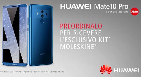 Kit Moleskine per chi prenota il nuovo Huawei Mate 10. Negozi Wind già a disposizione