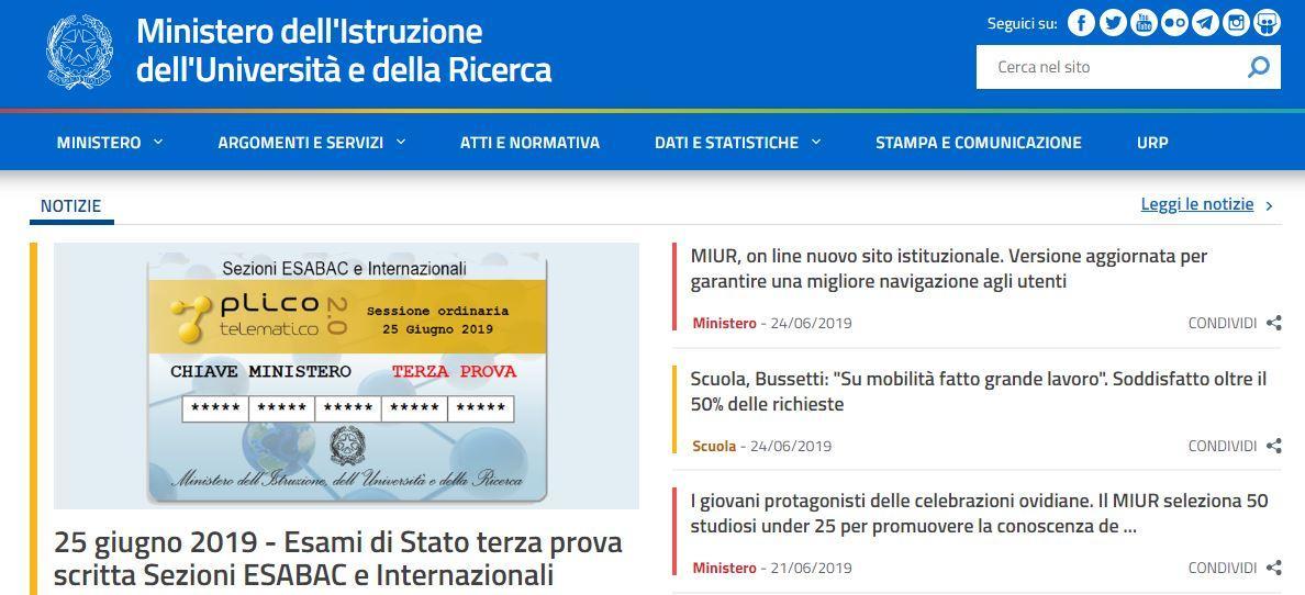 screenshot nuovo sito miur