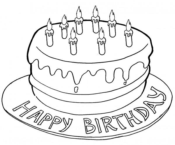 Disegno Compleanno: Torta Di Compleanno Per Bambini, Disegni Da Stampare