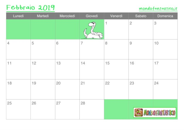 calendario febbraio 2019 bambini