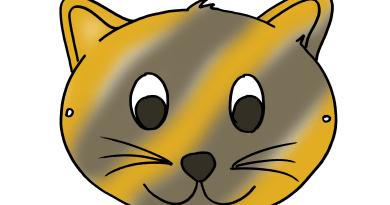Maschera da colorare animali gatto