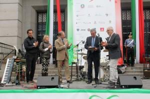 sin.: Il presidente de la SIB, Francesco Perniciaro, l'Ambasciatore Sebastiani, il presidente Pizzi, il direttore della Scuola Guarino
