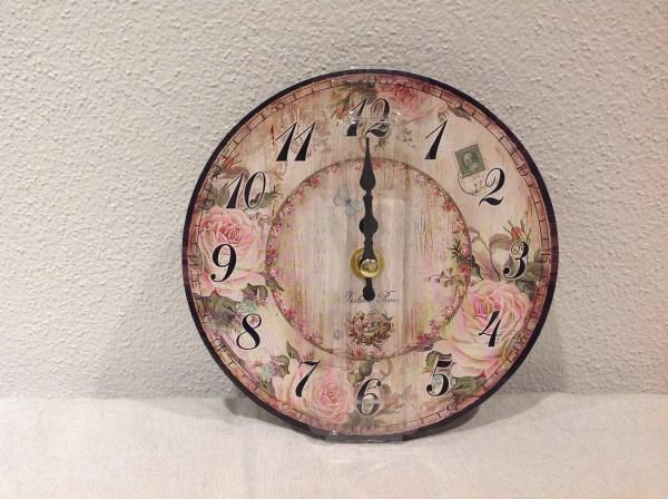 orologio 15 cm legno da muro rose