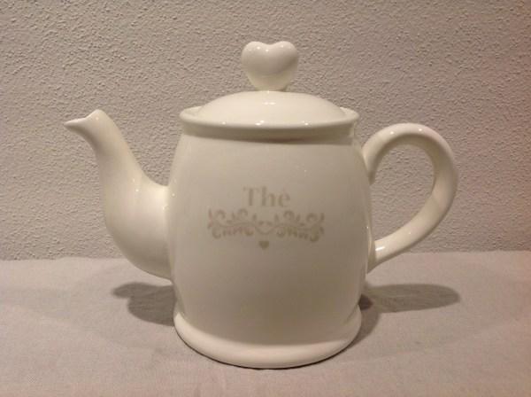 """teiera in ceramica panna scritta beige """"Thé"""""""