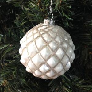 pallina di Natale vetro bianca decoro rombi