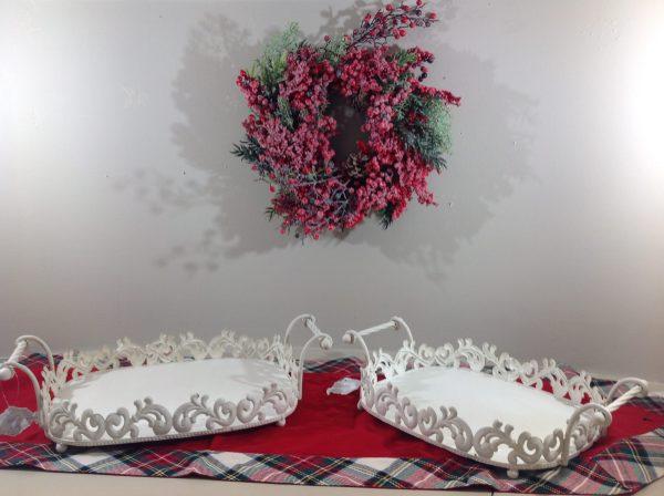 Coccole di Casa Vassoio con bordo e manici panna decapato