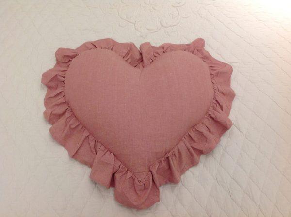 L'Atelier 17 Cuscino a cuore rosa scuro melange 50x55