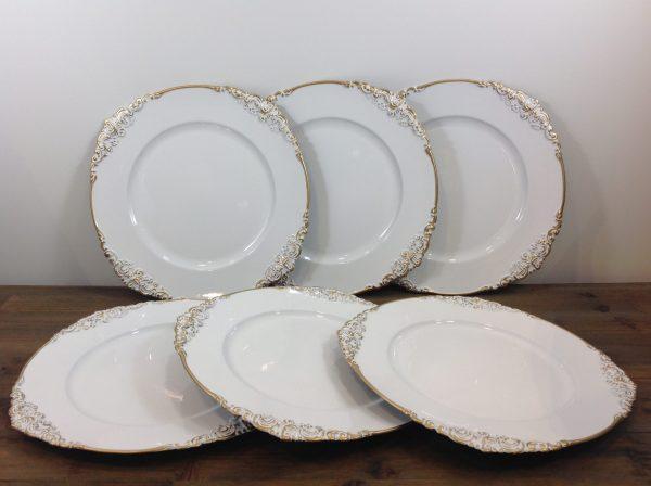 Blanc Mariclò Set 6 sottopiatti bianchi lavorati in oro