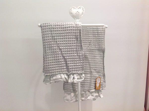L'Atelier 17 set asciugamano+ospite grigio in nido d'ape con frappa in lino grigia