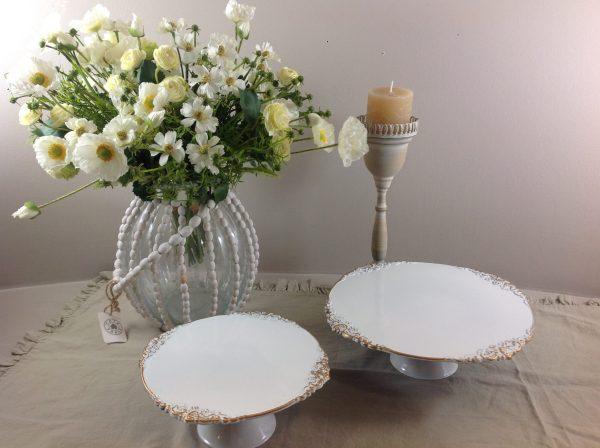 Lorenzongift Alzata in melamina bianca con bordo oro piccola