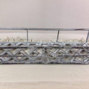 Clayre & Eef Etagere in ferro grigio decapato biancomarrone a 2 ripiani