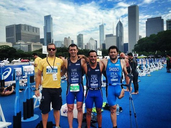 Paratriathlon azzurro a Chicago: da sinistra, Neil Mac Leod, Matteo Annovazzi, Maurizio Romeo e Giovanni Sasso