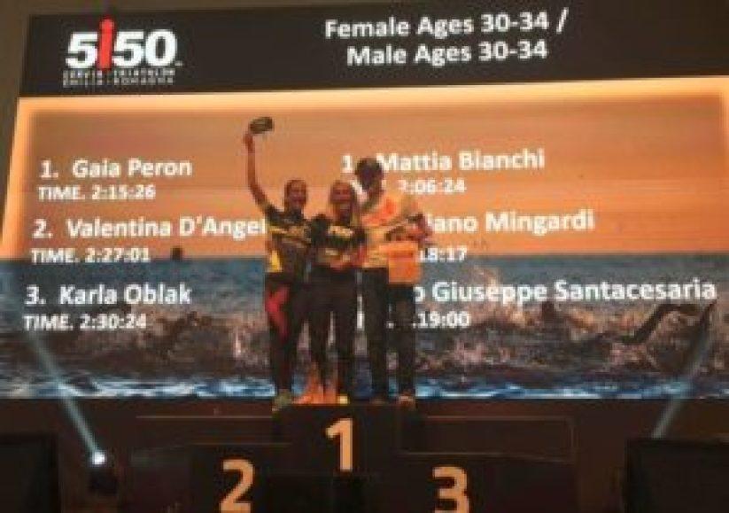 I migliori tre donne e uomini cat. 30-34 del 1° 5i50 Cervia Triathlon Emilia Romagna