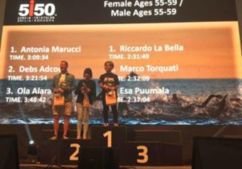 I migliori tre uomini e donne cat. 55-59 del 1° 5i50 Cervia Triathlon Emilia Romagna, disputato il 24 settembre 2017