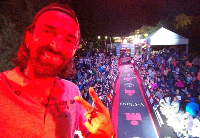 """Il Daddo sulla finish line del """"suo"""" Ironman Italy Emilia Romagna disputatosi a Cervia sabato 23 settembre 2017"""