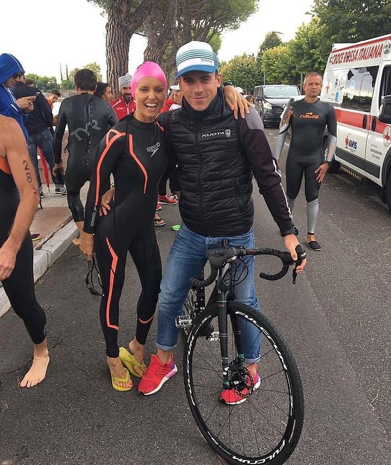Justine Mattera con Matteo Fontana prima del via del suo 1° triathlon sprint al Kuota TriO Peschiera 2017