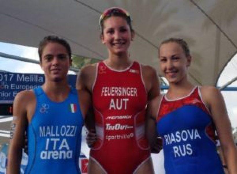 Le tre Junior più veloci dell'ETU Triathlon Junior European Cup 2017, a Melilla (Spagna): l'italiana Beatrice Mallozzi, l'austriaca Therese Feuersinger e la russa Valentina Riasova (Foto ©ETU European Triathlon Union)