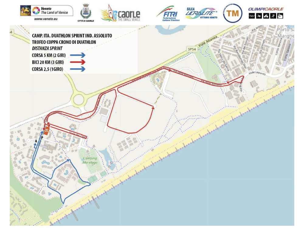 Il percorso del Campionato Italiano individuale di duathlon sprint 2019 e del Trofeo Coppa Crono 2019.