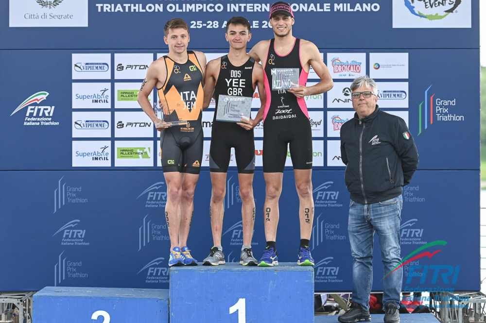 Il podio maschile del Grand Prix Milano 2019  (Foto ©FiTri / Tiziano Ballabio)