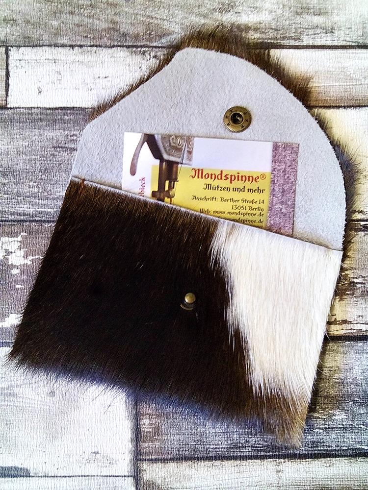 Börse Alpenglühen braun-weiß aus Kuhfell von MONDSPINNE