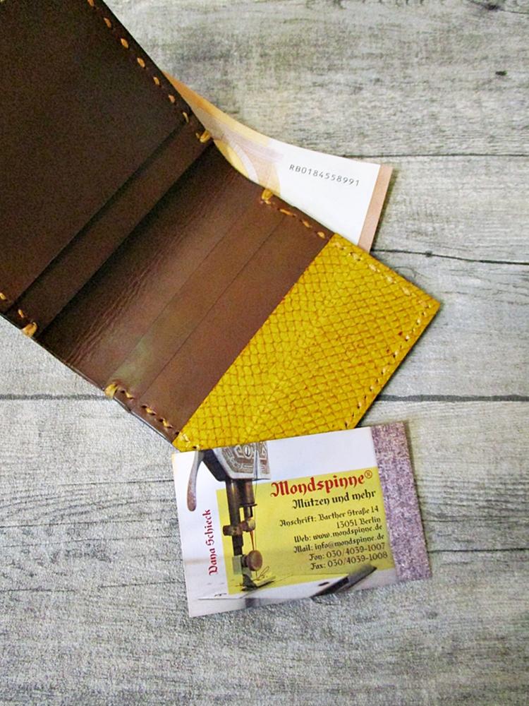 Kreditkartenetui Geldscheinetui Diktus braun-gelb vegetabil gegerbtes Rindsleder Lachsleder - MONDSPINNE