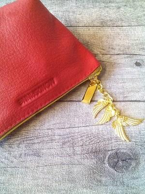 Kosmetiktasche Glamour rot-gold Leder - MONDSPINNE