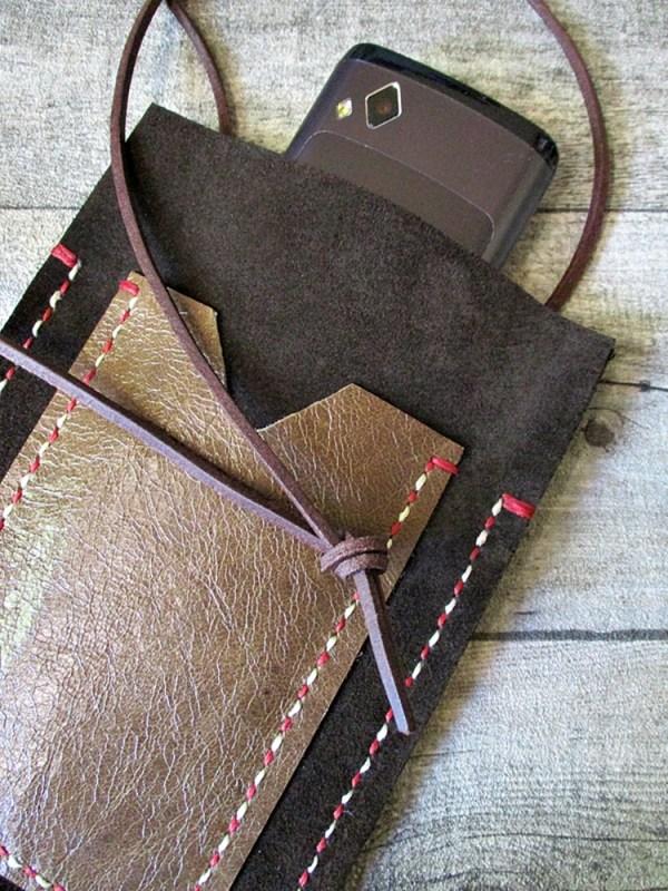 Brustbeutel Peru dunkelbraun-braun Rindswildleder Büffelkalbsleder - MONDSPINNE