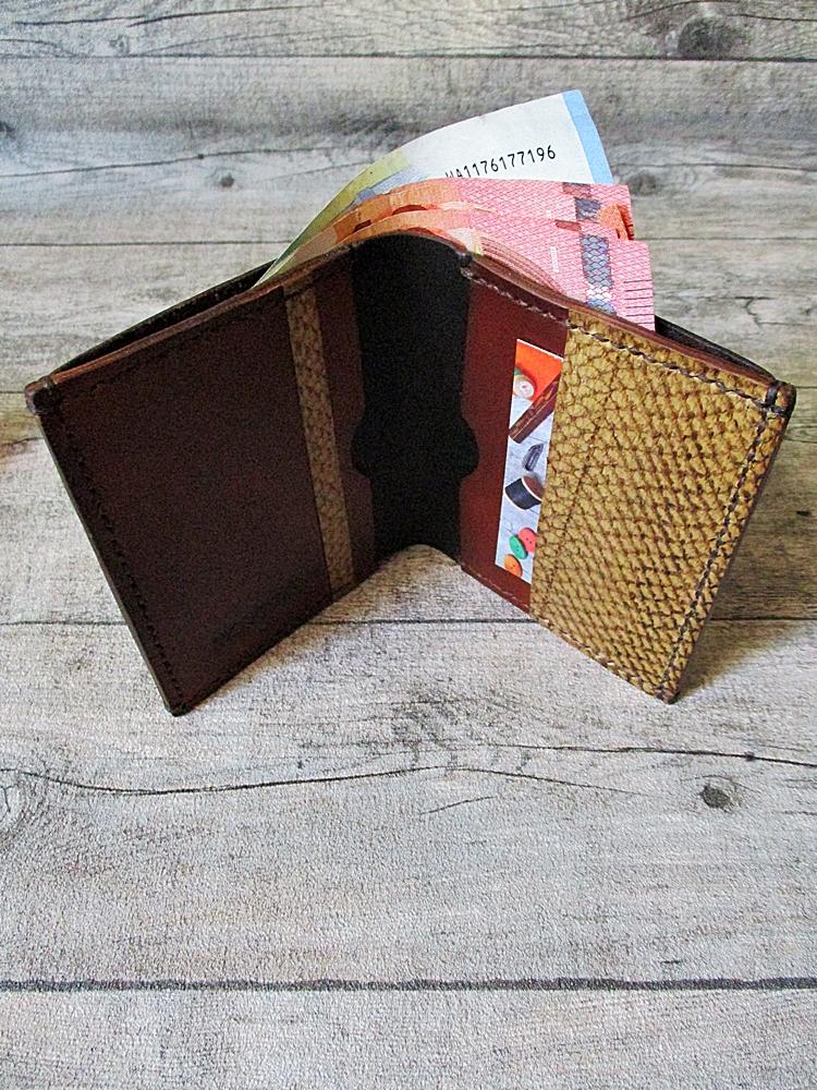 Kreditkartenetui Geldscheinetui Noah braun rotbraun Rindsleder Lachsleder - MONDSPINNE
