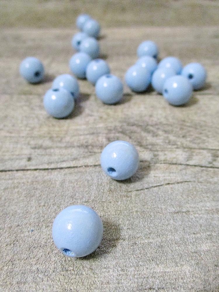 Holzperlen Holzkugeln 12mm Großloch Fädelloch 3mm eisblau - MONDSPINNE