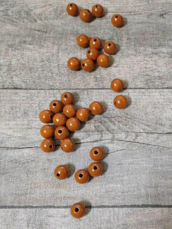 Holzperlen Holzkugeln 12mm Großloch Fädelloch 3mm karamell - MONDSPINNE