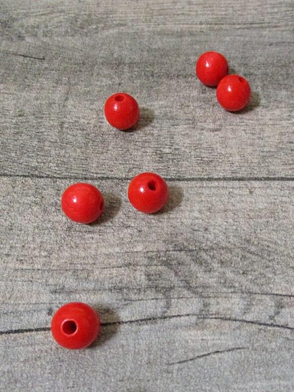 Holzperlen Holzkugeln 12mm Großloch Fädelloch 3mm rot - MONDSPINNE