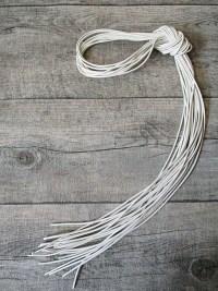 Lederband Lederriemen Ziegenleder weiß rund 1m 1,5mm - MONDSPINNE