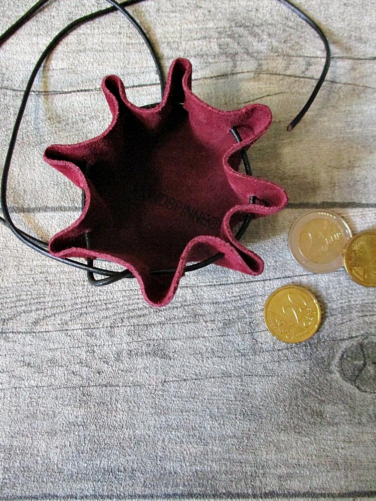 Mini-Lederbeutel weinrot schwarz Rindswildleder - MONDSPINNE