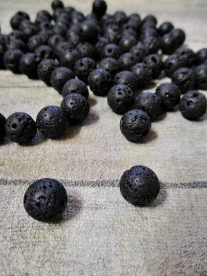 Perlen Kugeln Lava schwarz 10 mm Fädelloch 1 mm - MONDSPINNE