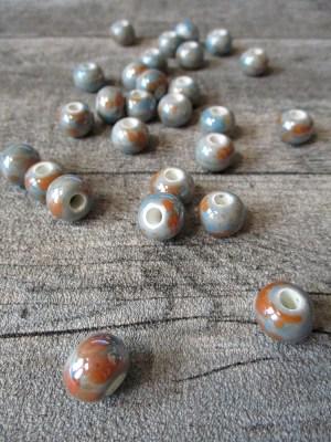 Porzellanperlen Großlochperlen elfenbeinfarben perlig - MONDSPINNE