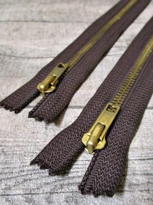 Reißverschluss braun messing 18 cm lang 3 cm breit YKK - MONDSPINNE
