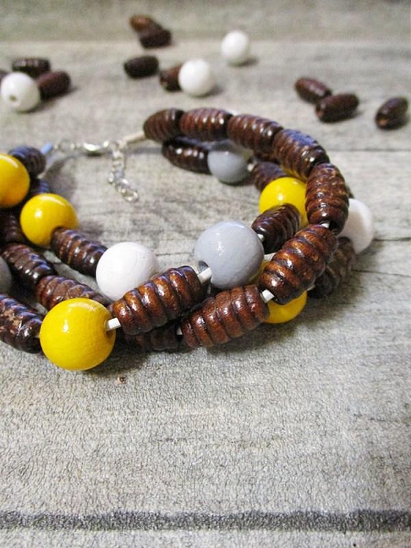 Armband braun gelb dreistrangig Holz Leder - MONDSPINNE