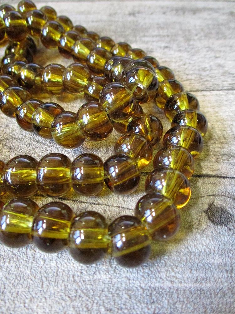 Glasperlen Glaskugeln Großlochperlen bernstein rund 12x9 mm Lochgröße 3,5 mm - MONDSPINNE