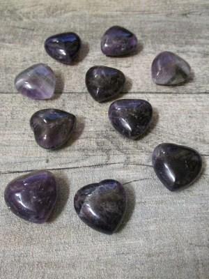 Amethyst Herz lila violett 25x25x13 gebohrt - MONDSPINNE