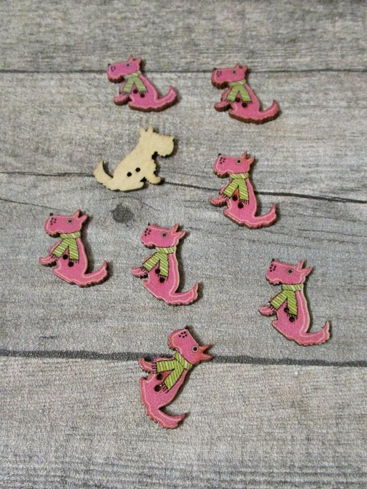 Holzknopf Holz Knopf Hund mit Schal rosa grün 30x23x2 mm - MONDSPINNE