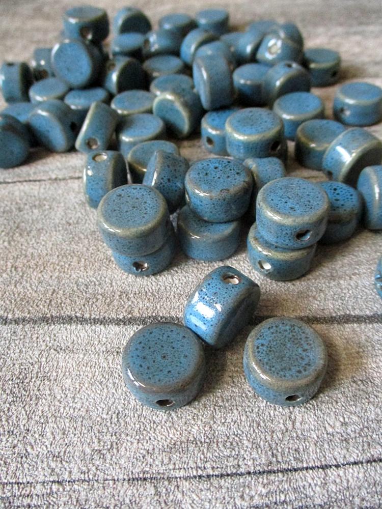 Porzellanperlen Großlochperlen blau rund flach antik glasiert 16x10 mm Lochgröße 3 mm - MONDSPINNE
