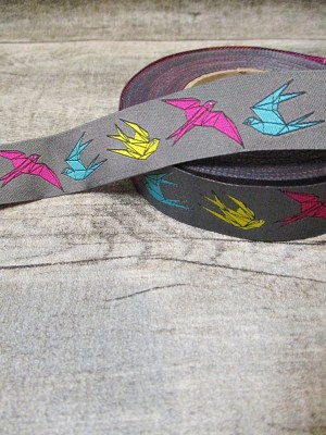 Webband Zierband Origami auf Grau Herr Schneider 2016 grau bunt 20 mm Polyester - MONDSPINNE