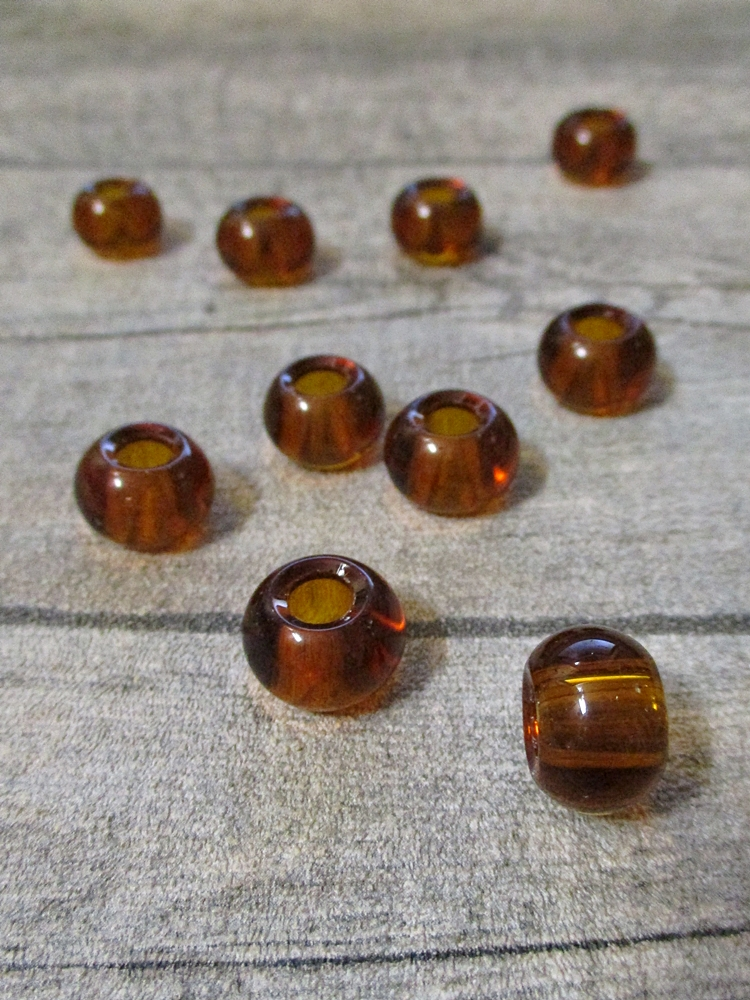 Glasperlen Glaskugeln Großlochperlen bernstein 14x10 mm Lochgröße 5,5 mm - MONDSPINNE